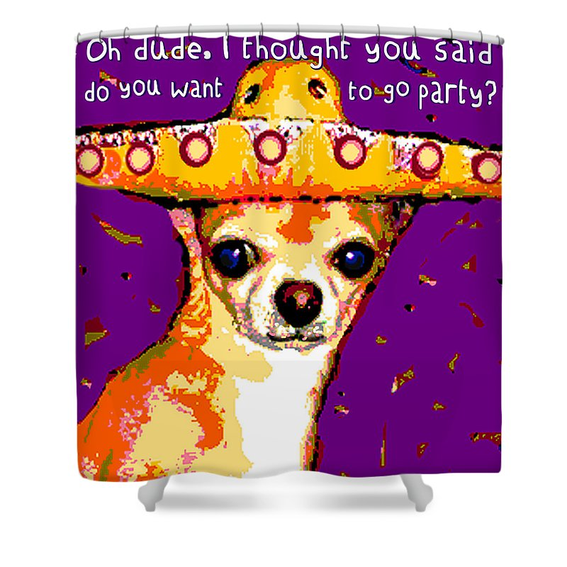 Rebecca Korpita Shower Curtain Featuring The Mixed Media Party Chihuahua By