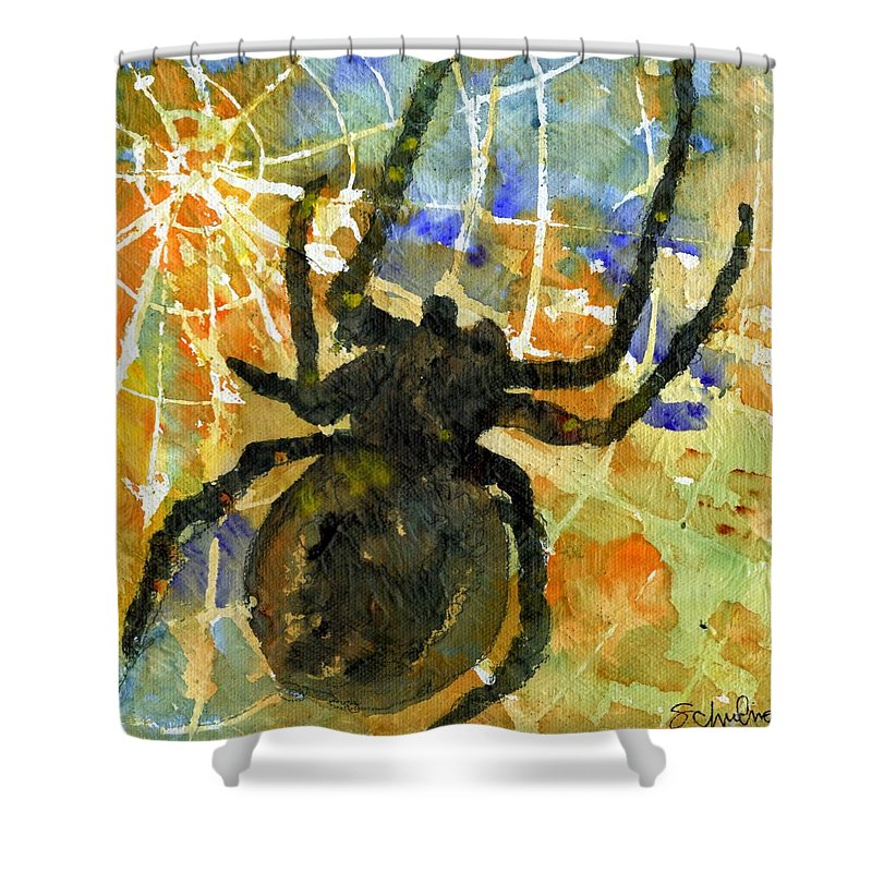 Spider Art Shower Curtain featuring the painting Oh What A Tangled Web We Weave by SchulmanArt