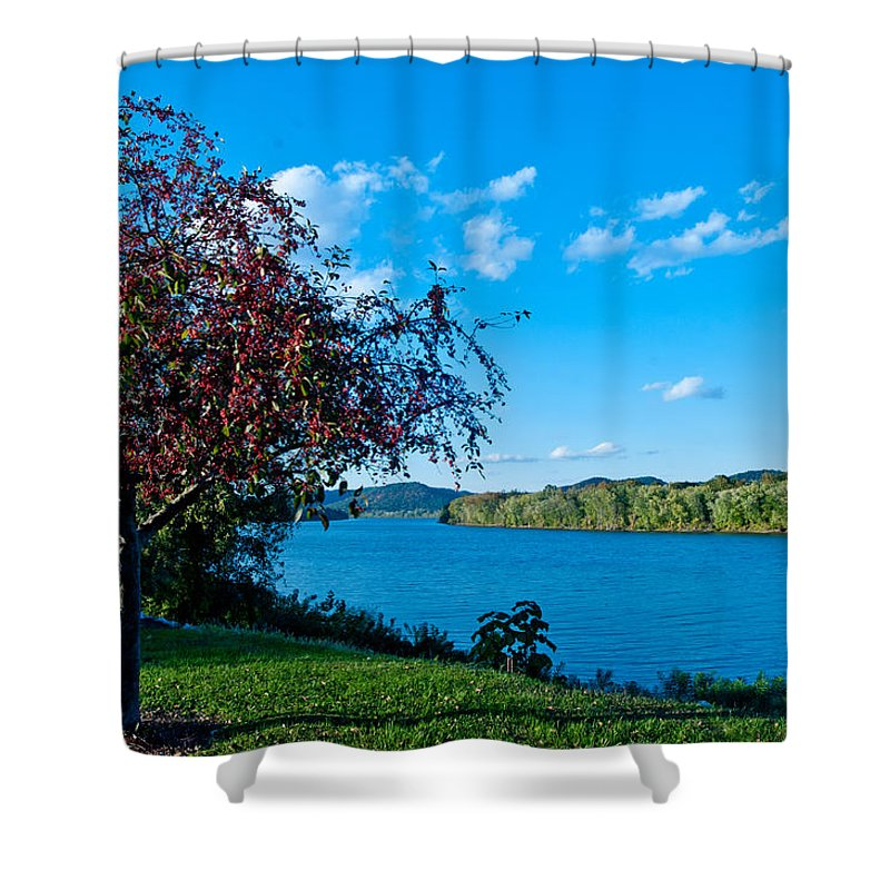 Ohio River Shower Curtain Featuring The Photograph Meaning Beautiful By Randall Branham