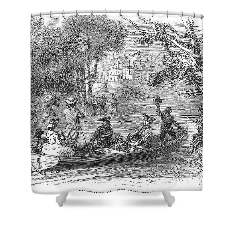 1790s Shower Curtain featuring the photograph Ohio River: Emigrants by Granger