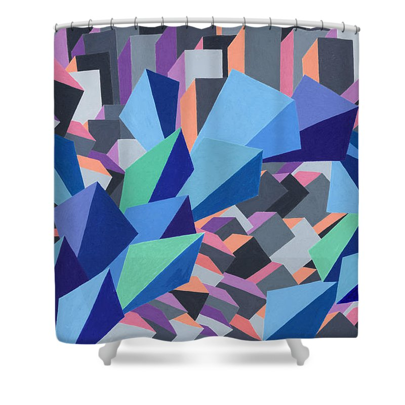 Blue Shower Curtain featuring the painting Blue Barge Through The Purple City by Sean Corcoran
