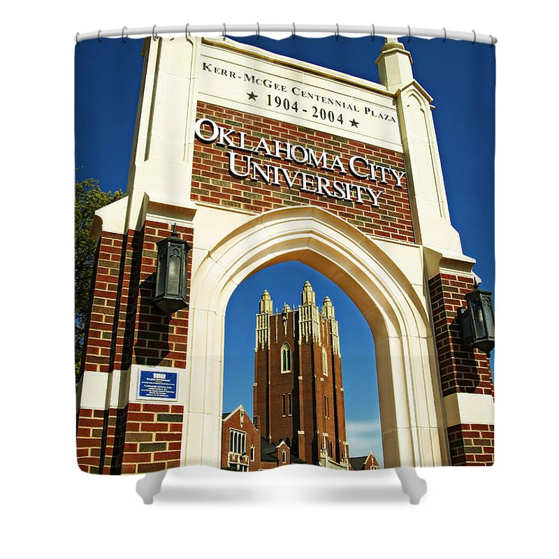 Oklahoma Shower Curtain featuring the photograph Oklahoma City University by Ricky Barnard