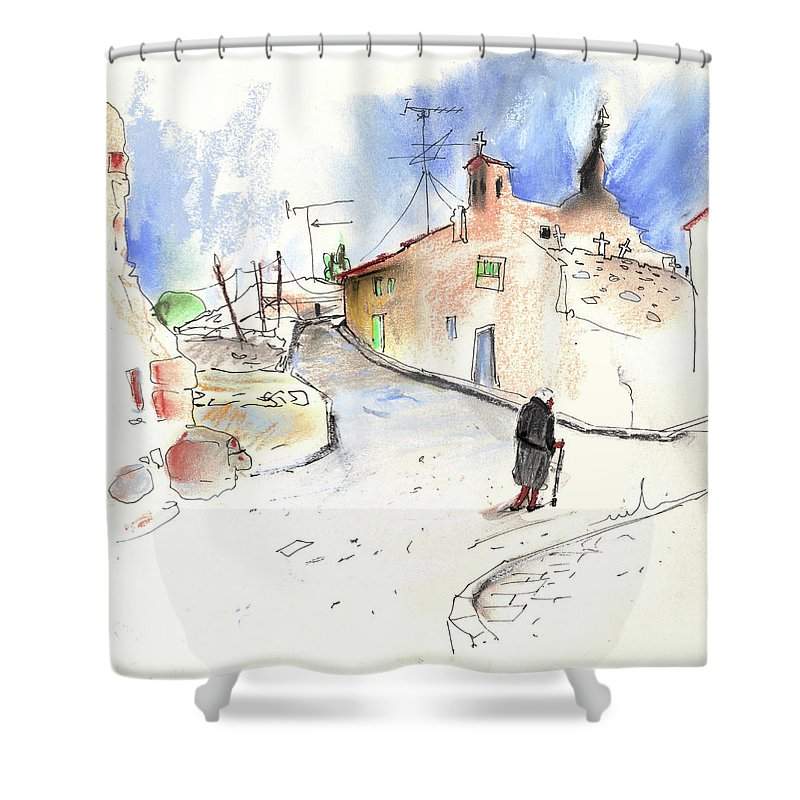 Spain Shower Curtain featuring the painting Old And Lonely In Spain 02 by Miki De Goodaboom