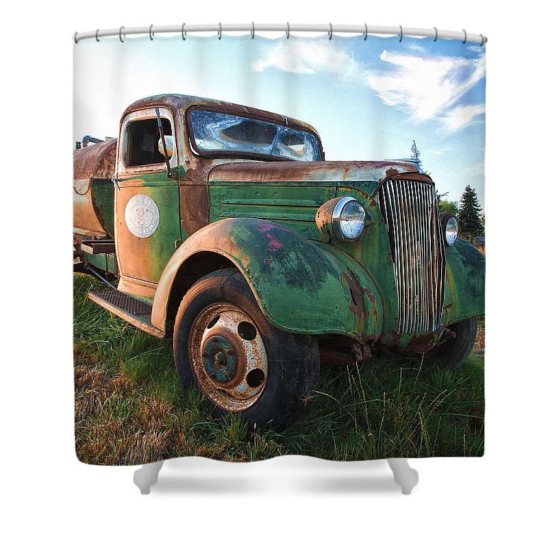 Truck Shower Curtain featuring the photograph Old Chevy Tanker Truck by Steve McKinzie