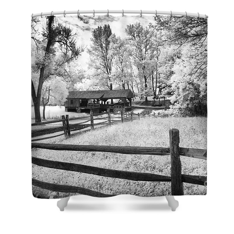 Infrared Shower Curtain featuring the photograph Old Country Saw-mill by Paul W Faust - Impressions of Light