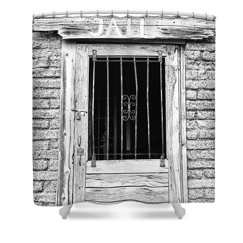 'old Jailhouse' Shower Curtain featuring the photograph Old Jailhouse Door In Black And White by James BO Insogna