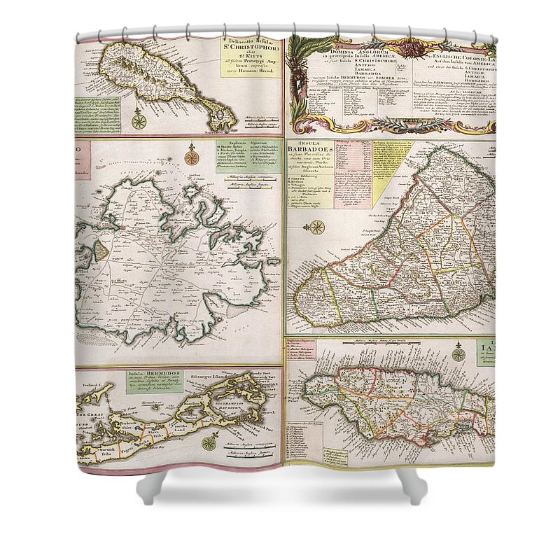 Maps Shower Curtain Featuring The Drawing Old Map Of English Colonies In Caribbean By German