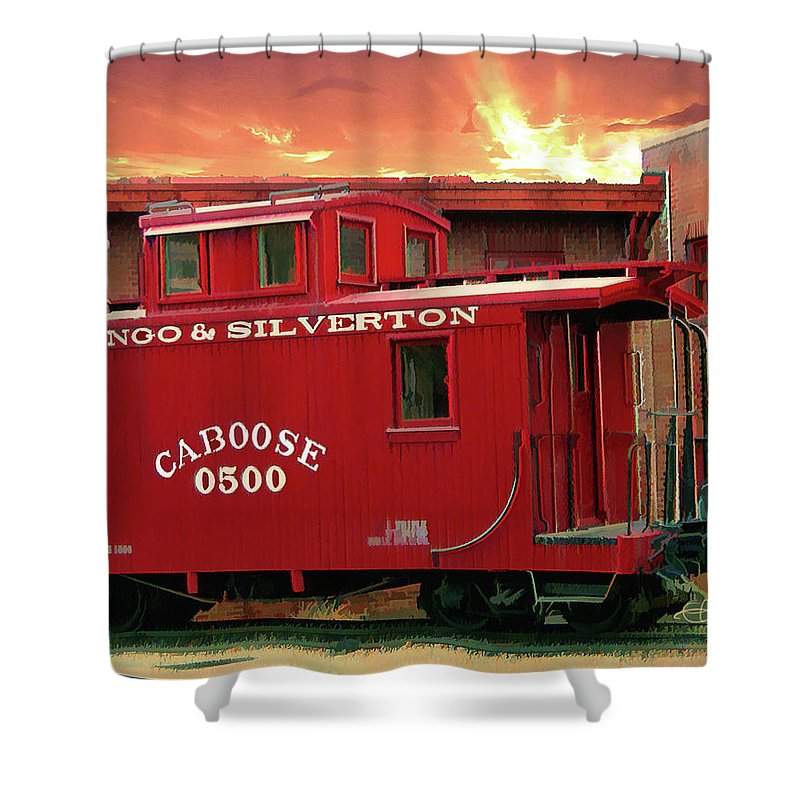 Caboose 500 Shower Curtain featuring the digital art Old Red Caboose 500 by Gary Baird