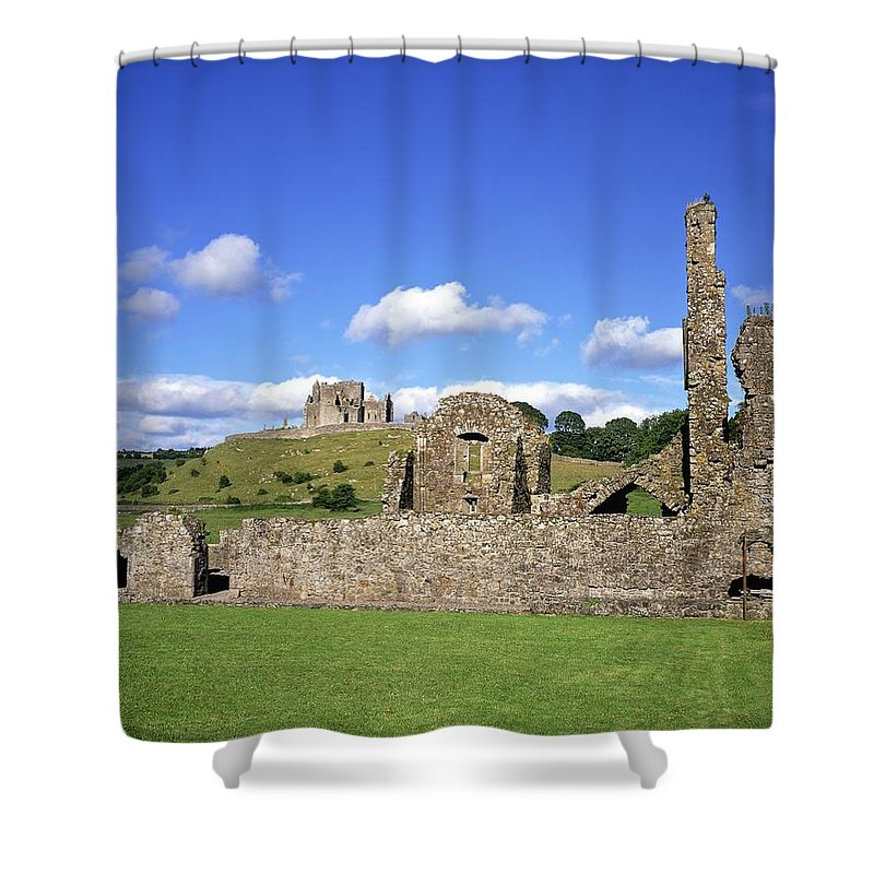 Architecture Shower Curtain featuring the photograph Old Ruins Of An Abbey With A Castle In by The Irish Image Collection