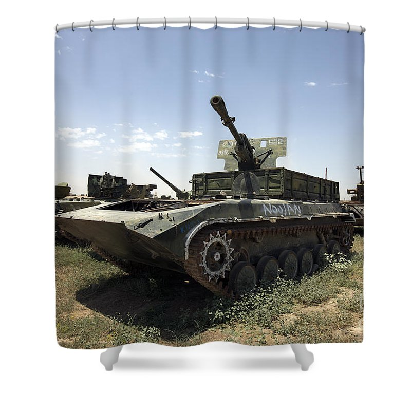 Army Shower Curtain featuring the photograph Old Russian Bmp-1 Infantry Fighting by Terry Moore