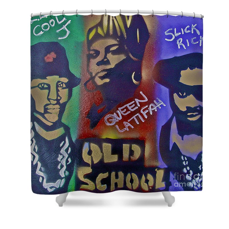 Hip Hop Shower Curtain Featuring The Painting Old School By Tony B Conscious