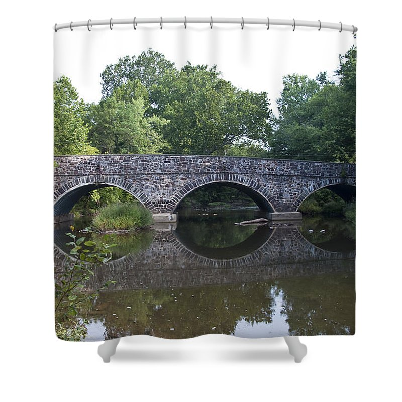 Old Sumneytown Pike Bridge Over The Perkiomen Creek Shower Curtain featuring the photograph Old Sumneytown Pike Bridge Over The Perkiomen Creek by Bill Cannon