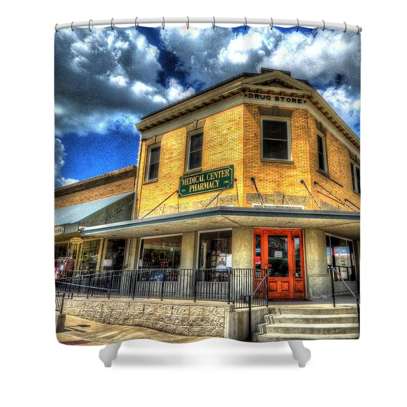 Bryan Shower Curtain featuring the photograph Old Town Bryan Drug Store by David Morefield