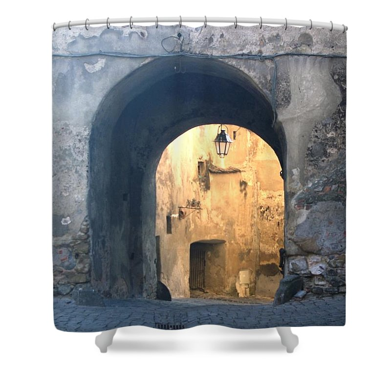Sighisoara Shower Curtain featuring the photograph Old town gate 1 by Amalia Suruceanu
