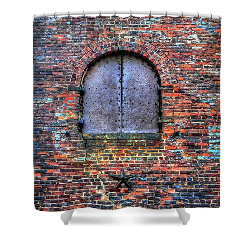 Brick Wall Shower Curtain Featuring The Photograph Old Warehouse Wall New  York City By Dave Mills