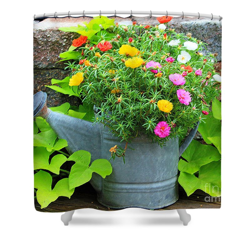 Flowers Shower Curtain featuring the photograph Old Watering Can by Jack Schultz