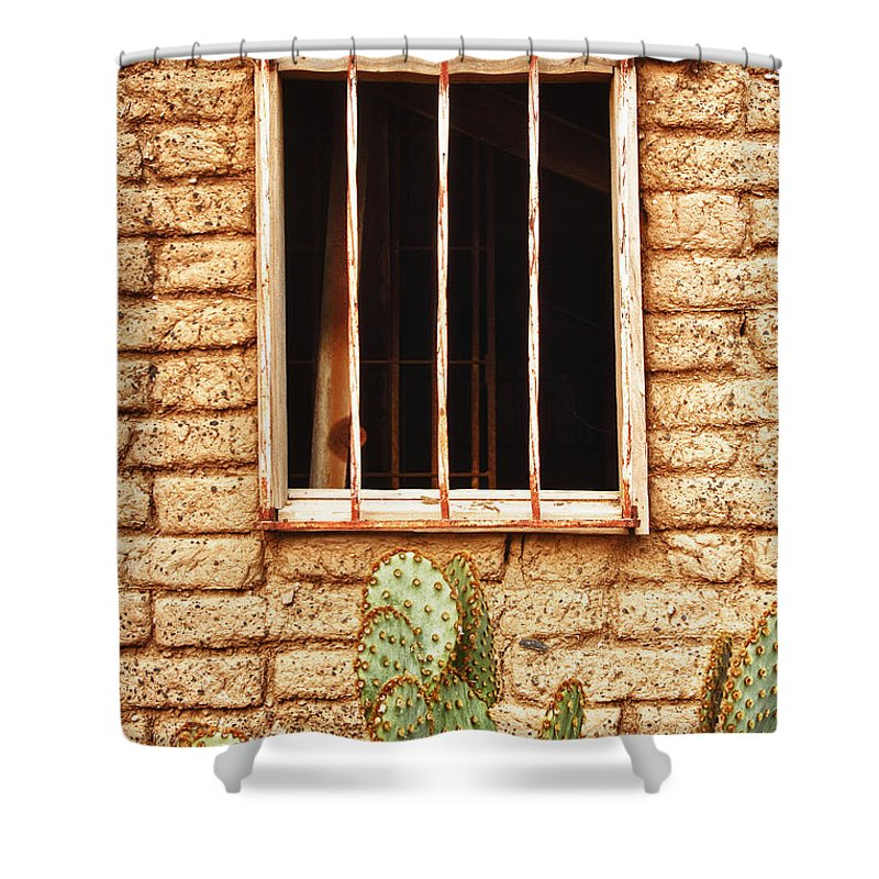 'old Jailhouse' Shower Curtain featuring the photograph Old Western Jailhouse Window by James BO Insogna