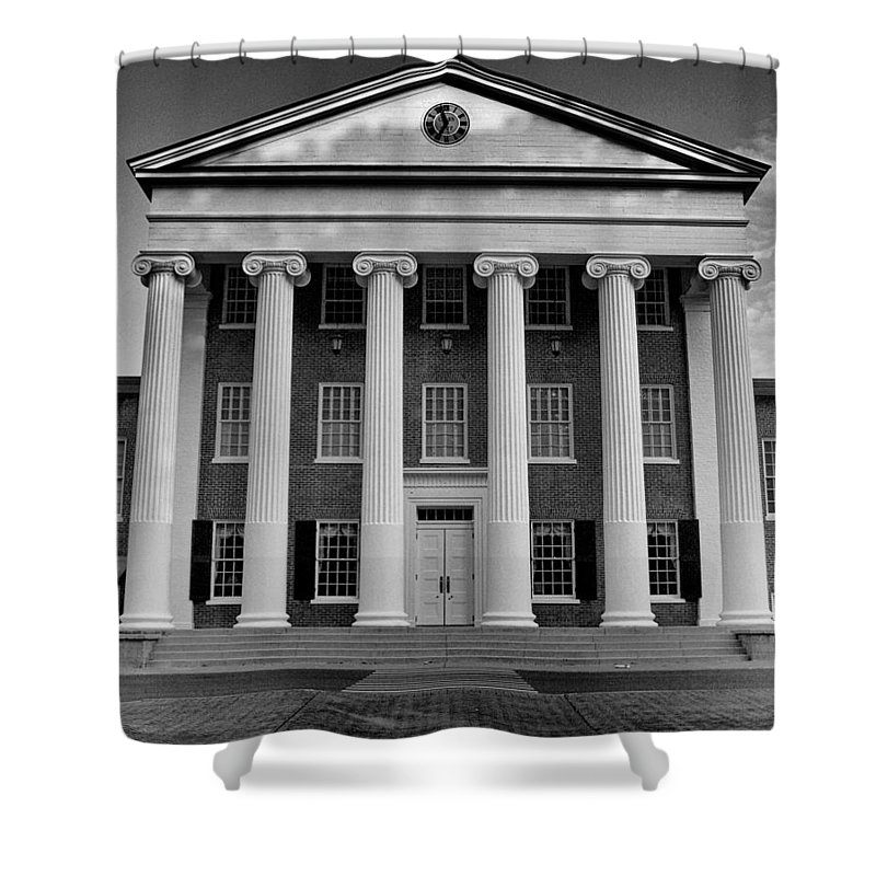Lyceum Shower Curtain Featuring The Photograph Ole Miss Black And White By Joshua House