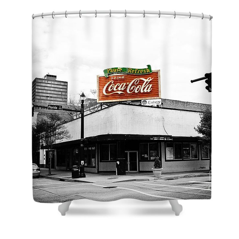 Black & White Shower Curtain featuring the photograph On The Corner by Scott Pellegrin