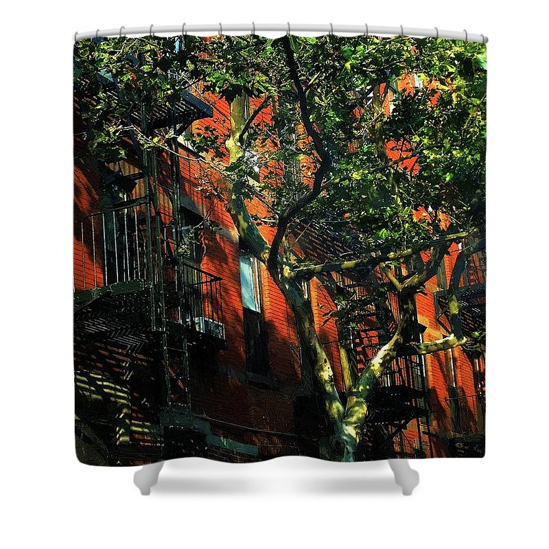 Apartments Shower Curtain featuring the painting On The Shady Side by RC DeWinter