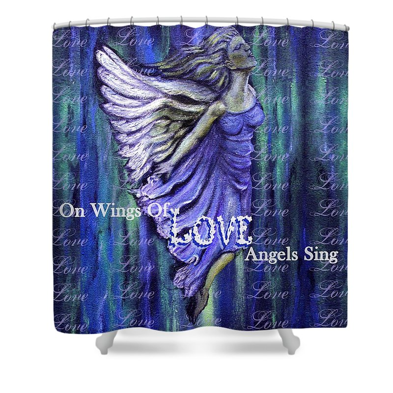 Angel Shower Curtain featuring the mixed media On Wings Of Love Angels Sing by The Art With A Heart By Charlotte Phillips