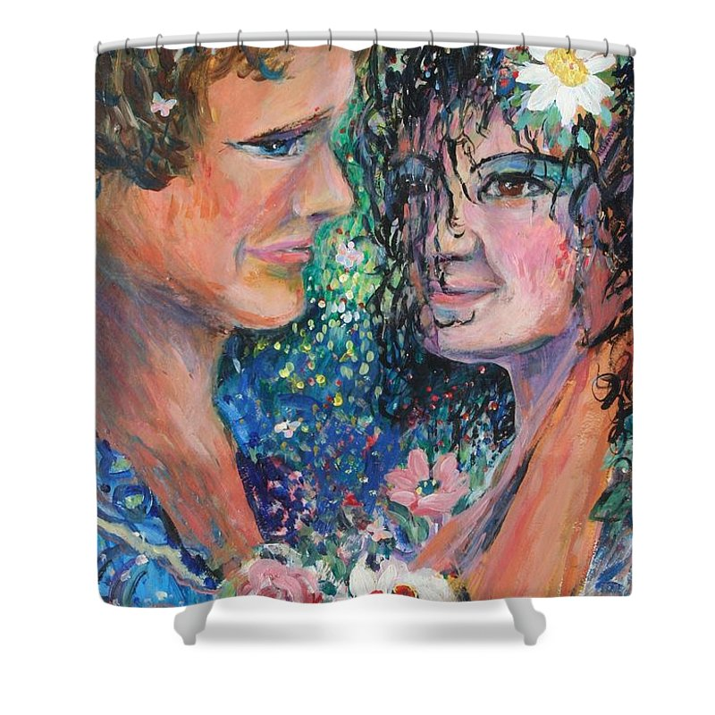 Woman Shower Curtain featuring the painting Once Upon A Time by Avonelle Kelsey
