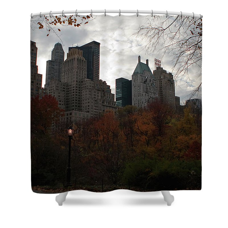New York City Shower Curtain featuring the photograph One Light On In Central Park by Lorraine Devon Wilke