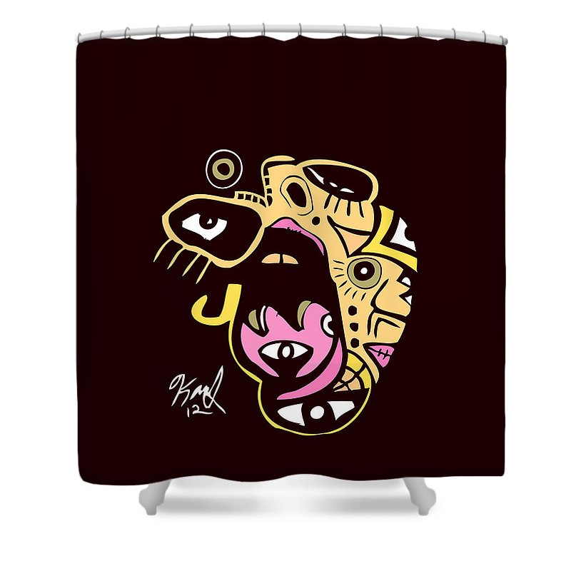 Woman Shower Curtain featuring the digital art Open Wide Full Color by Kamoni Khem