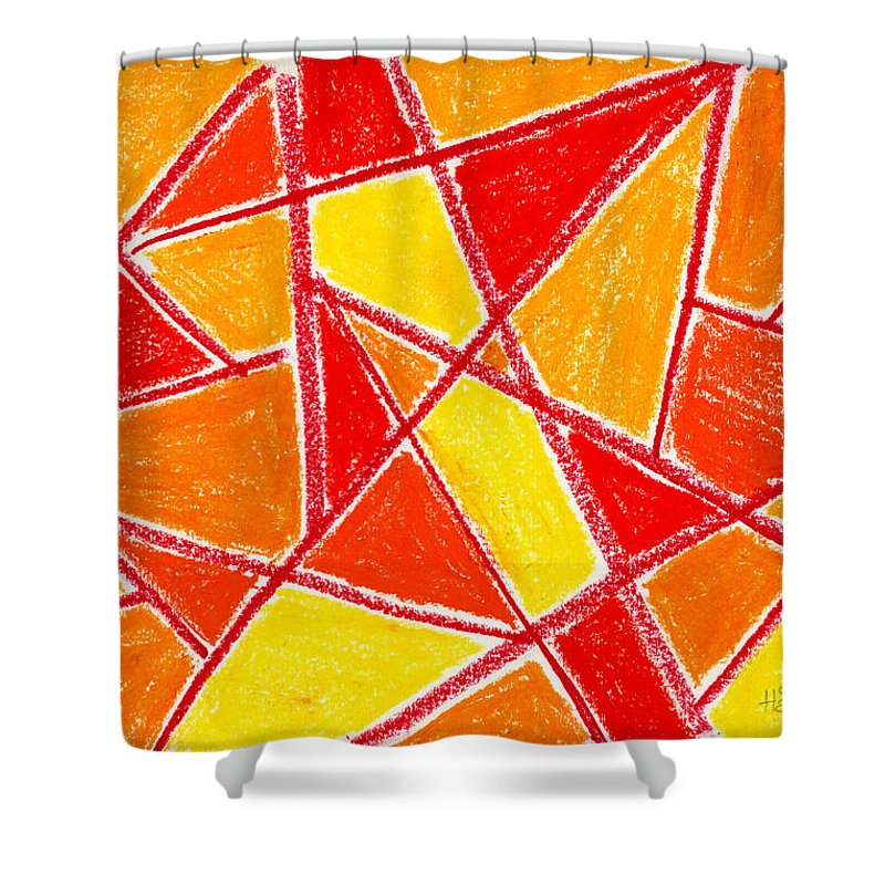 Orange Shower Curtain featuring the drawing Orange Abstract by Hakon Soreide