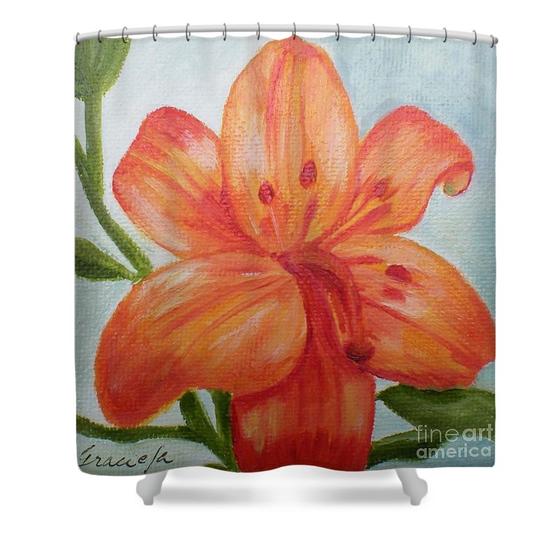 Flower Shower Curtain Featuring The Painting Orange By Graciela Castro
