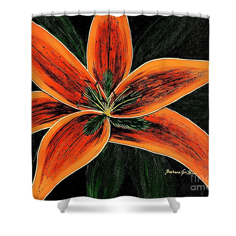 Orange Oriental Lily Shower Curtain featuring the painting Orange Oriental Lily by Barbara Griffin