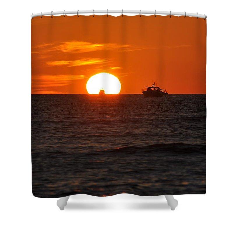 Sunset Shower Curtain featuring the photograph Orange Sunset II by Christine Stonebridge