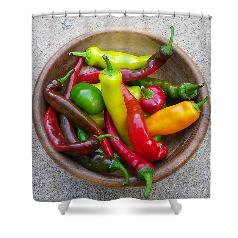 Organic Shower Curtain featuring the photograph Organic Colorful Peppers by Anna Ruzsan