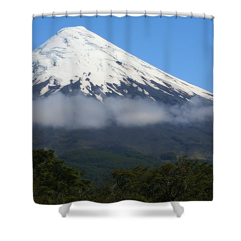 Cloud Shower Curtain featuring the photograph Osorno Volcano Ringed By Clouds by Laurel Talabere