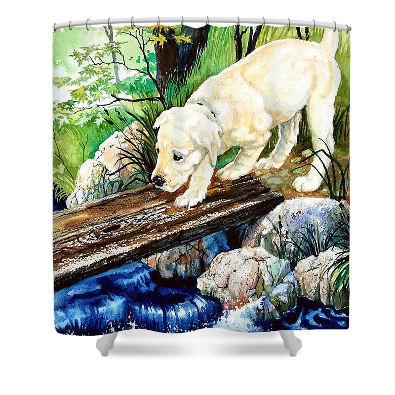Puppy Shower Curtain featuring the painting Overcoming Fear by Hanne Lore Koehler