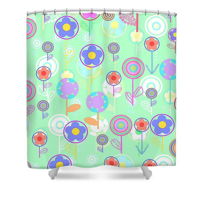 Louisa Shower Curtain featuring the digital art Overlayer Flowers by Louisa Knight
