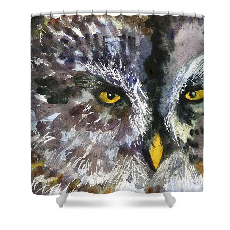 Art Shower Curtain featuring the painting Owl Eyes by Miriam Schulman