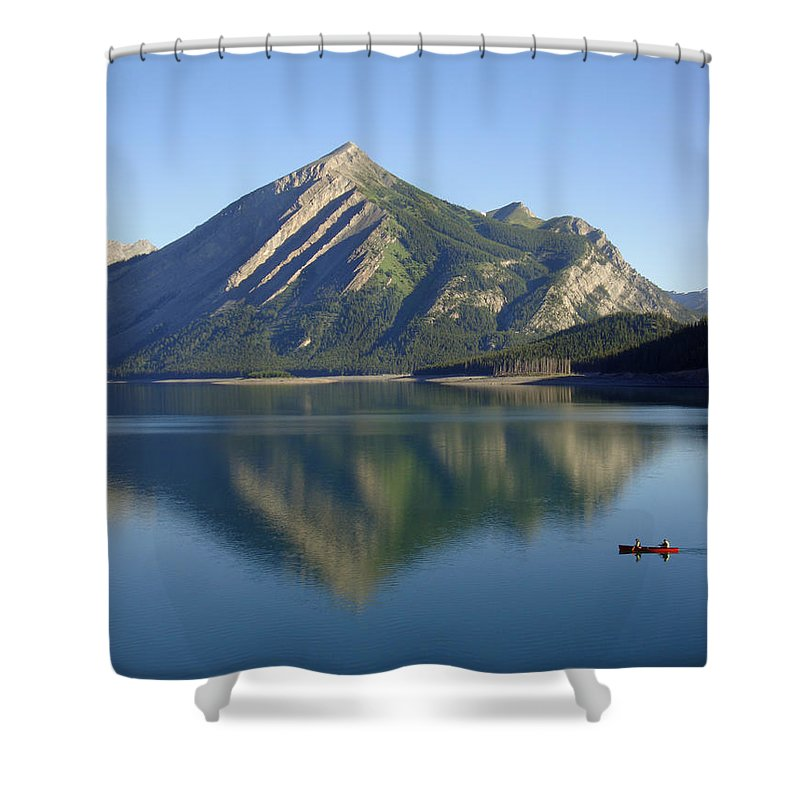 Paddle Shower Curtain featuring the photograph Sunrise Paddle In Peace - Kananaskis, Alberta by Ian Mcadie