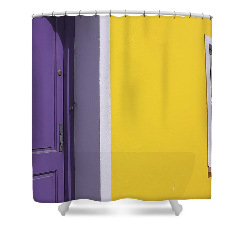 Flower Box Shower Curtain featuring the photograph Painted Buildings On Main Street In by Trish Punch