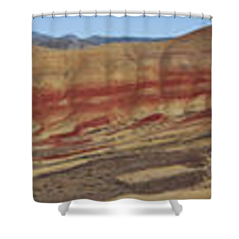 Sweeping Shower Curtain featuring the photograph Painted Hills Panoramic by Karen Ulvestad