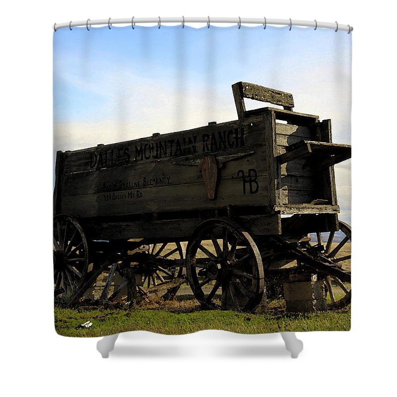 Barnwood Shower Curtain featuring the photograph Painted Wagon by Steve McKinzie