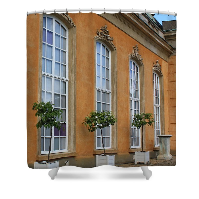 Windows Shower Curtain featuring the photograph Palace Windows And Topiaries by Carol Groenen