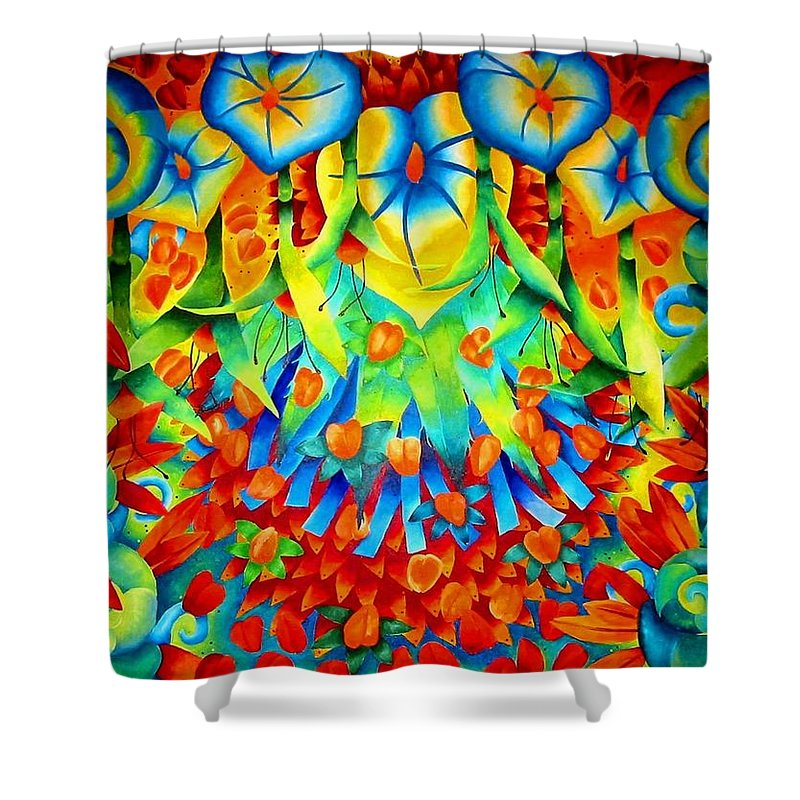 Seeds Shower Curtain featuring the painting Palomar by Elizabeth Elequin