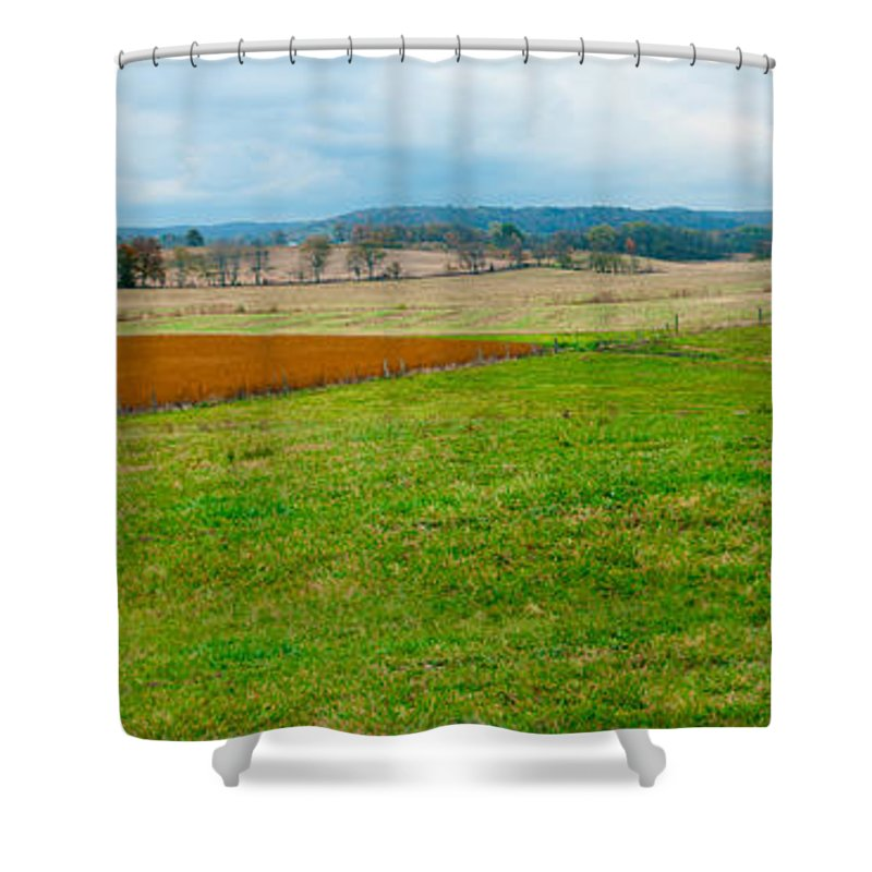 Panorama Valley Farm Shower Curtain featuring the photograph Panorama Valley Farm by Randall Branham