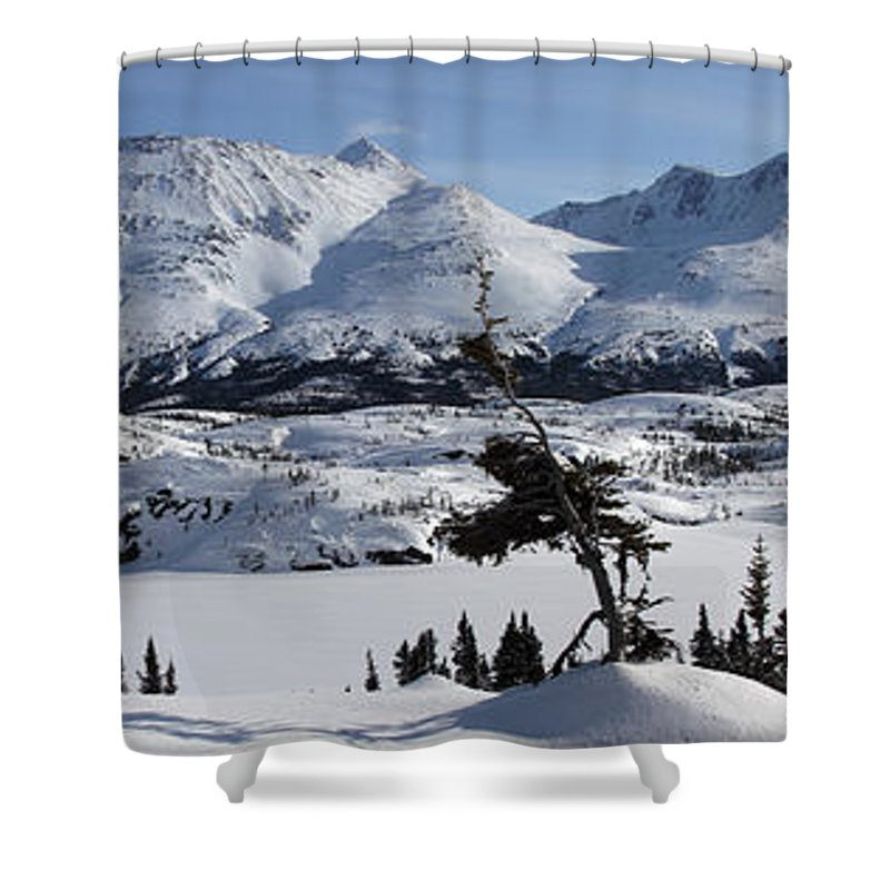 Light Shower Curtain featuring the photograph Panoramic Of An Unnamed Mountain Taken by Robert Postma