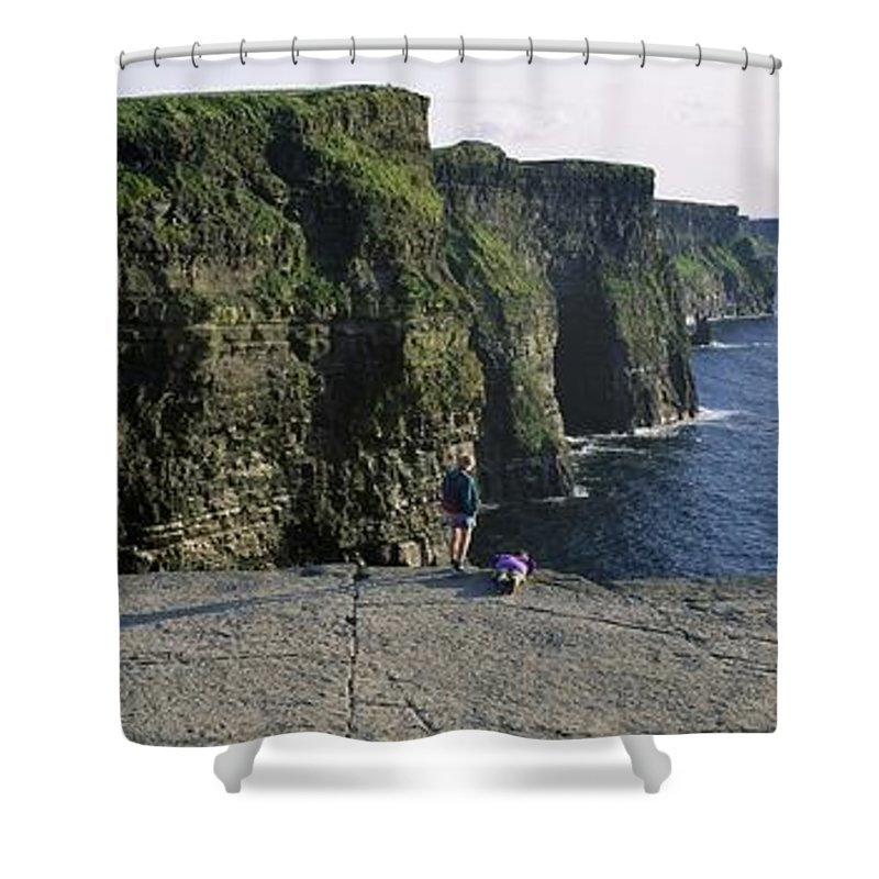 Atlantic Ocean Shower Curtain featuring the photograph Panoramic View Of Cliffs, Cliffs Of by The Irish Image Collection