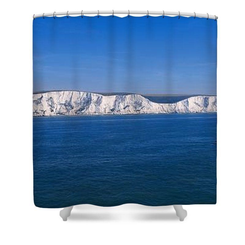 Blue Shower Curtain featuring the photograph Panoramic View Of Sailboats On Sea by Sici