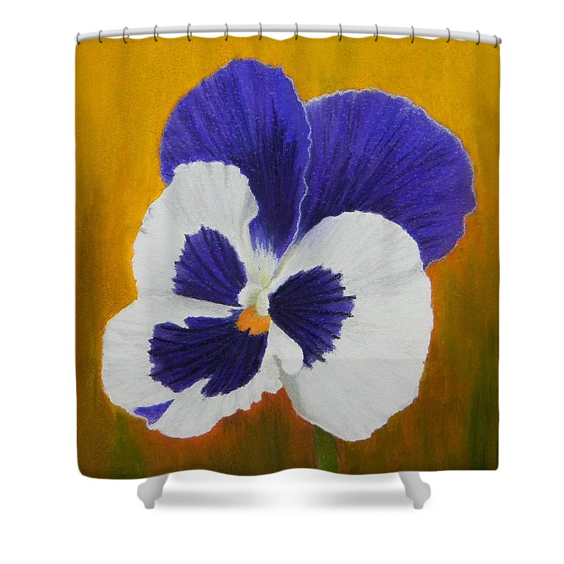 Still Life Shower Curtain featuring the painting Pansy by Xenia Sease