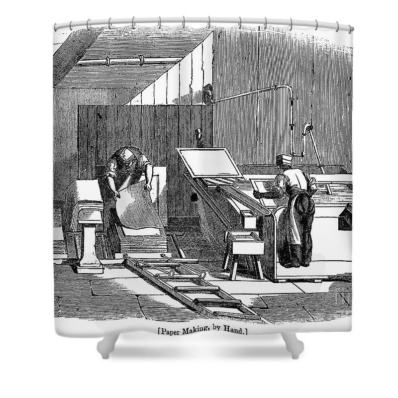 1833 Shower Curtain featuring the photograph Papermaking, 1833 by Granger