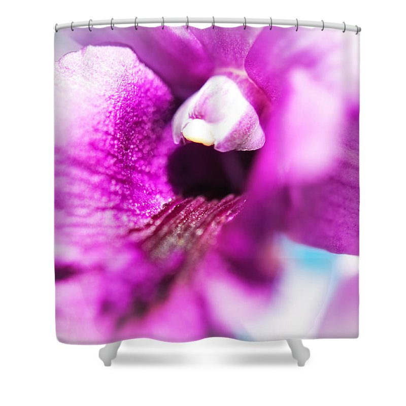 Flowers Shower Curtain featuring the photograph Passion For Flowers. Orchid Close Up by Jenny Rainbow